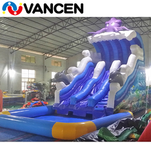 Guangzhou factory cheap prices custom octopus themed used children electric air blower supplied inflatable water slide with pool