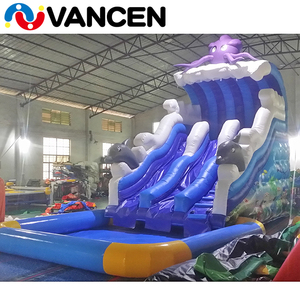 Guangzhou factory giant inflatable slide octopus themed used children electric air blower inflatable water slide with pool