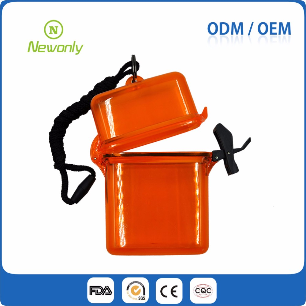 Logo printed waterproof plastic floating swim beach safe box with lanyard