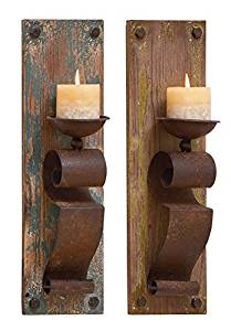 """Deco 79 Deco 79 Wood Candle Sconce, 6 x 19"""", Assorted,(Pack of 2)"""