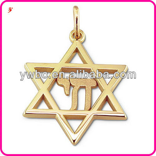 Alloy Gold Plated Art mind 2 Dimensional Star of David Religious Charms Jewelry H104257-1