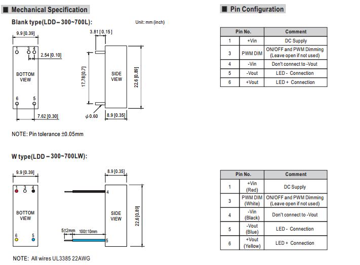 9-36vdc  12vdc input 300ma 350ma 600ma 700ma 500ma constant current led driver ldd-500l