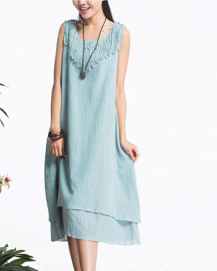 4be55d4f907 750 x 936 www.aliexpress.com. Vintage Linen Dress Qa106654 Solid Tassel  Plus Size White .