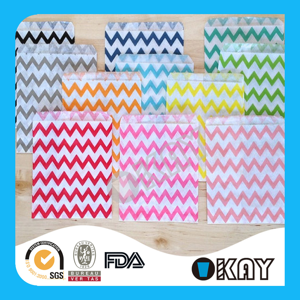 5x7 inch Striped and Chevron Printed Kids Birthday Candy Buffet Bags