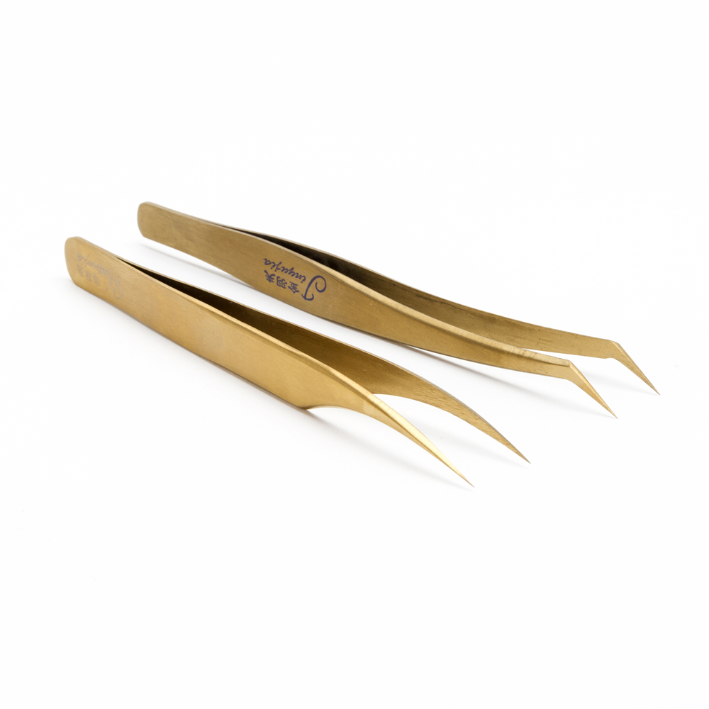 Free Shipping Product New Design Best Price Oem Accept Anti-Static 3D Volume Eyelash Extension Tweezers Factory In China, Silver gold