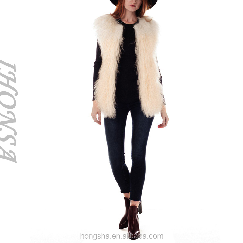 Latest White Wholesale Faux Fur Cooling Vest Sleeveless Faux Fur Vest For Women HSV6685