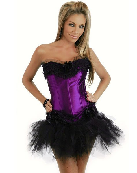 c9ce2be293 Get Quotations · Freeshipping ! 6 color Purple Corset with Side Zipper Mini Skirt  Women s Clothes body lift