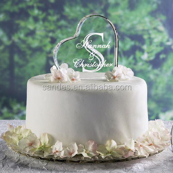 Mariage Monogramme Cœur Forme Gâteau Topper Initiales Lettres Miroir En Acrylique Boulangerie Décoration Buy Toppers De Gâteau De Mariage En