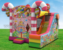 2016 new bouncy castle candy combo jumping tents with basketball hoop and pop ups for sale in China