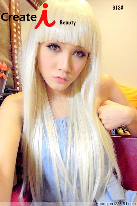 Lady Gaga Beige 65cm Long Straight Hair Heat Resistance Synthetic Party Wig Hair free shipping