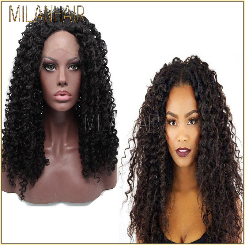 Cute Black Small Doll Wigs Indian Women Hair Wig Deep Curl Style Full Lace Wig