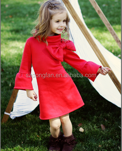 New Arrival Woolen Baby Winter Dress Party Kids Frock Designs