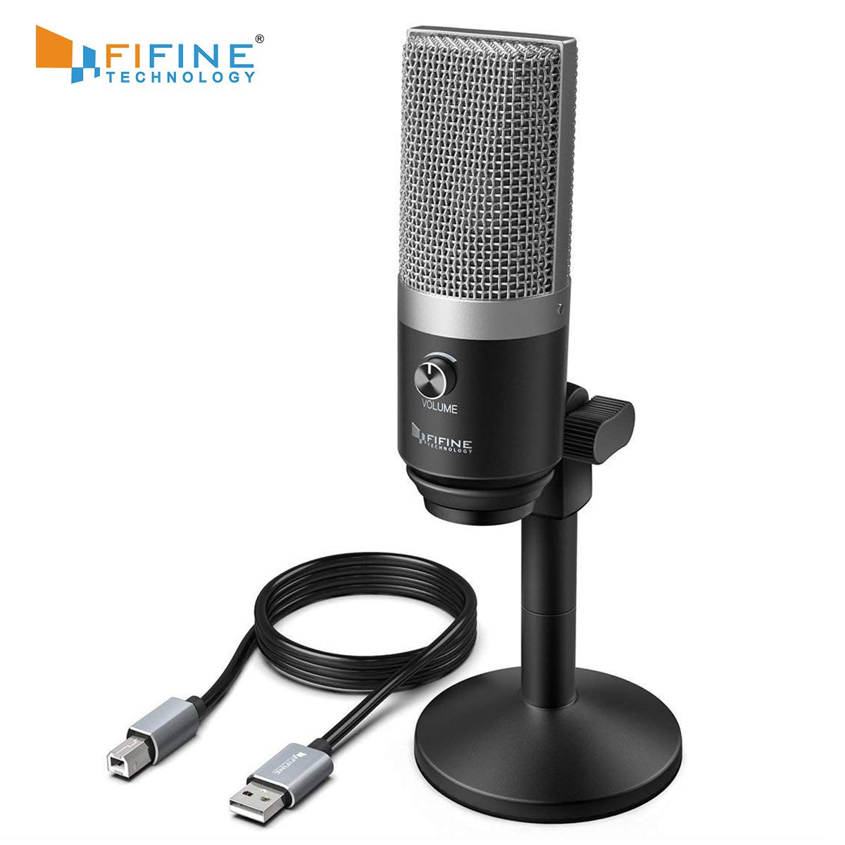 Podcast FIFINE USB Wired Vocal Microfone Estúdio de Gravação do Microfone do computador Kit