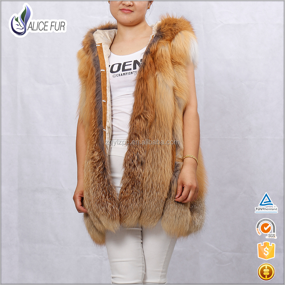 Hot Sale Made In China High Quality Fashion Women Real Red Fox Fur Vest With Hood