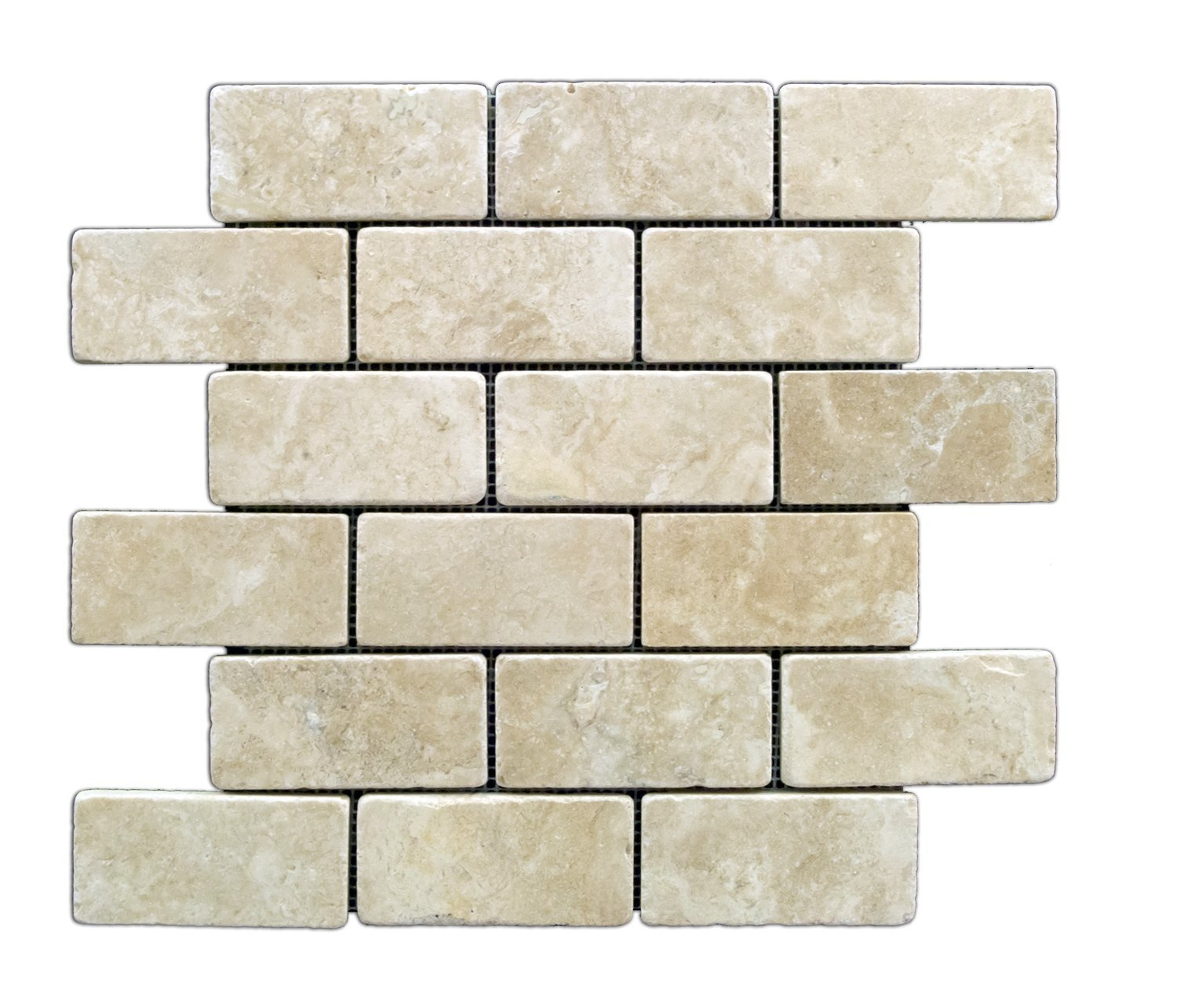 Buy Durango Cream 2 X 4 Tumbled Travertine Brick Mosaic Tile 6 X 6