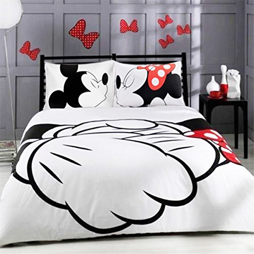 Ln 3 Piece Girls Cute White Black Minnie Mouse Duvet Cover King Set, Adorable Mickey Mouse Bedding Mini Kissing Romance Love Themed Pretty Polka Dot Bow Hands Children Cartoon, Polyester Cotton