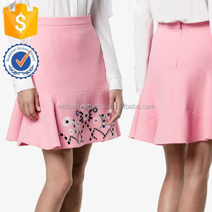 Pink And Multicolor Embroidered Wool A-line Mini Skirt 2017 Summer Manufacture Wholesale Fashion Apparel (TF0018K)