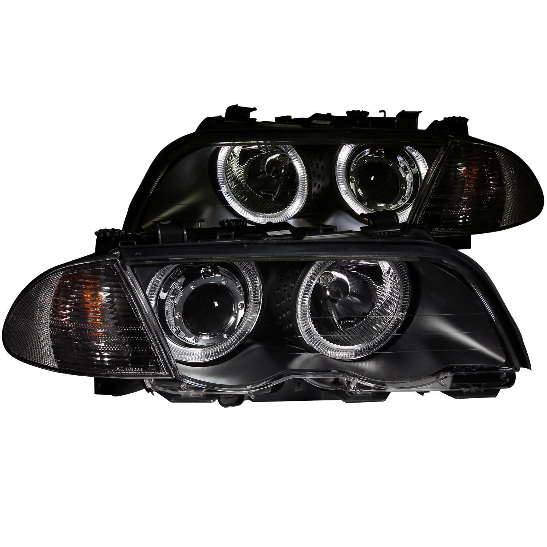 FRONT HEADLIGHT BMW 320I, BMW 323I, BMW 325I, BMW 325XI, BMW 328I, BMW 330I 3 SERIES E46 4DR 1901 PROJECTOR H.L. BLACK HALO with CORNER LIGHT AMBER 2PC