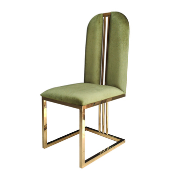 Luxury Banquet  Wedding Green Chair Hotel Long Back Party Chair Stainless Steel Gold Legs Chairs