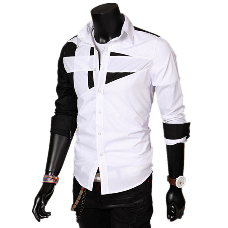 Swimblue Slim NEW Spring Mens Shirts Long-sleeved Business Casual Stitching Solid Arrival Dress Cool
