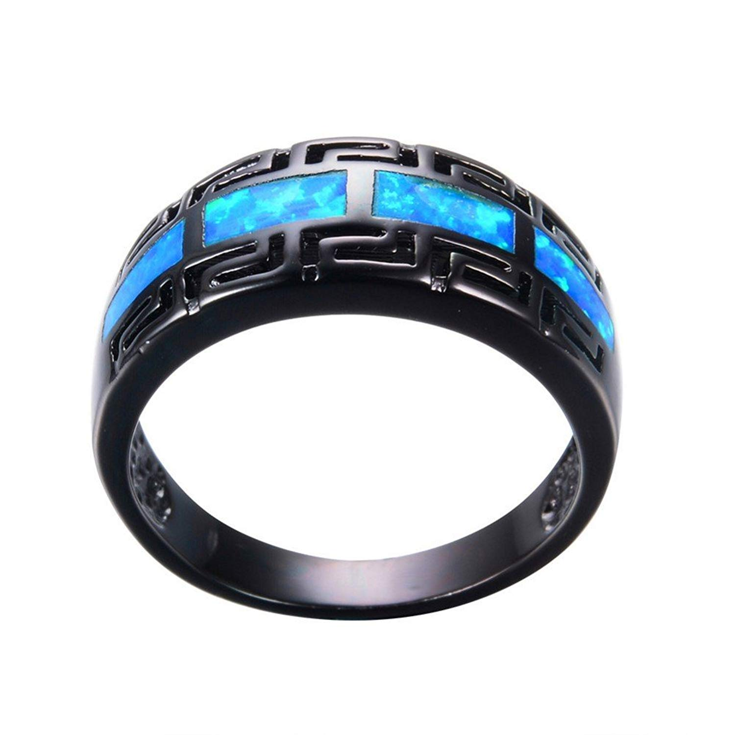 f11435b210 PSRINGS Male Blue Fire Opal Ring Black Gold Filled Vintage Wedding Rings  Fashion Jewelry