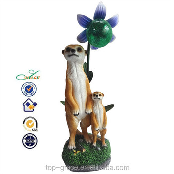 Animaux solaire lumi re jardin d coration r sine meerkat figurines buy product on for Animaux decoration jardin resine