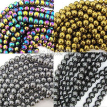 ree Shipping Cheap Natural Stone Black/Gold/Silver/Rainbow Hematite round Beads 4 6 8 10 12 14 MM