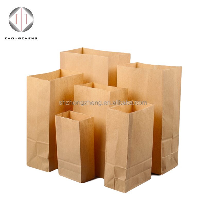 China suppliers customized sizes brown kraft food bag for cookie bread take away fast food