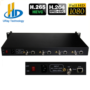 1U Rack 4 Channels HEVC H.265 H.264 HD 3G SDI To IP Video Encoder 4 In 1 SDI To H.265 Transmitter Live Streaming RTMP Encoder