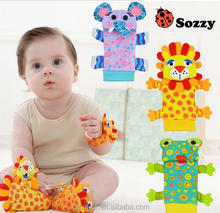 Sozzy nursery toy, foot finder, animal baby socks