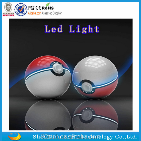 shenzhen ZYHT 2016 New design products 12000mah poke ball power bank pokemon game charger power bank