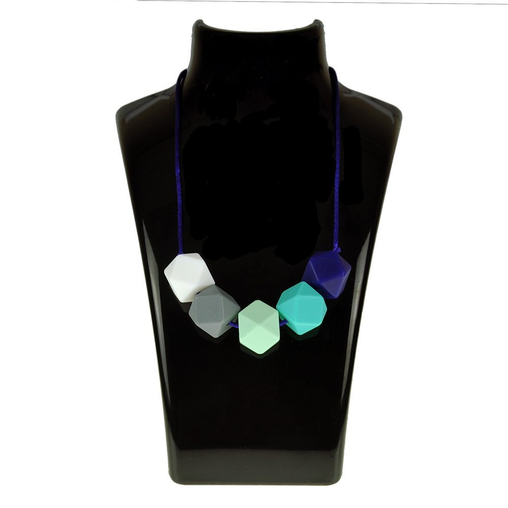 Aishine Teether -Natural Pain Reduce Rainbow Silicone Teething Nursing Breastfeeding Necklace for Mom & Baby-Educational Organic Food Grade Jewelry ( Stone Dark blue White )