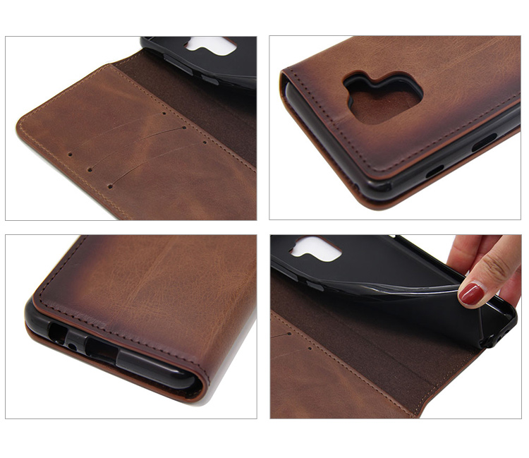 Custom design brown flip luxuryleather mobile phone case with card slot for Samsung Galaxy A6