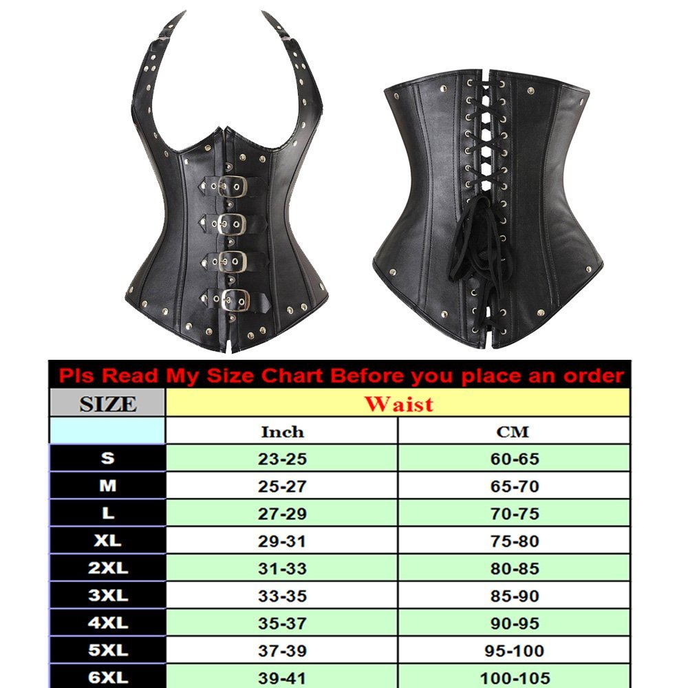 3a68336cb8 Get Quotations · Pymega(TM) Steampunk Halter Corset S-4XL Steel Boned Waist  Training Corset Faux