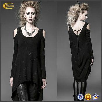 Visual décontracté En Gothique T shirt Cardigan Top Long gros Punk Rock Noir Kei femmes eQorCxBdW