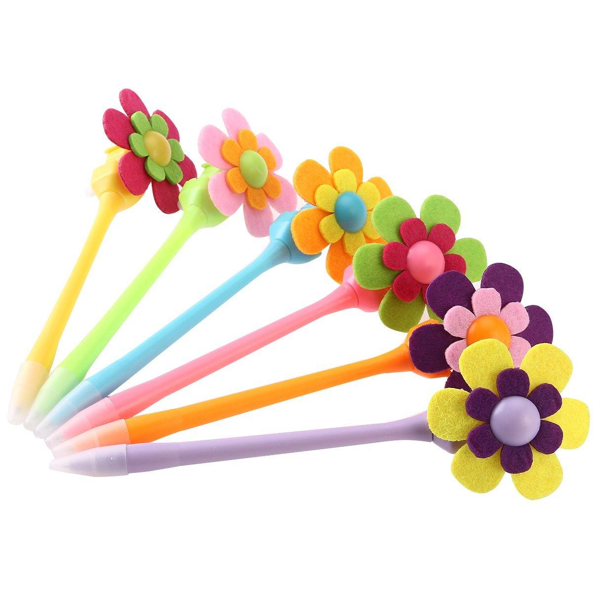 NUOLUX 6pcs Mixed Colors Decorative Pens Flower 0.7mm Ball Pens