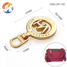 Gold Metal Ring Zipper Puller With Engraved Logo