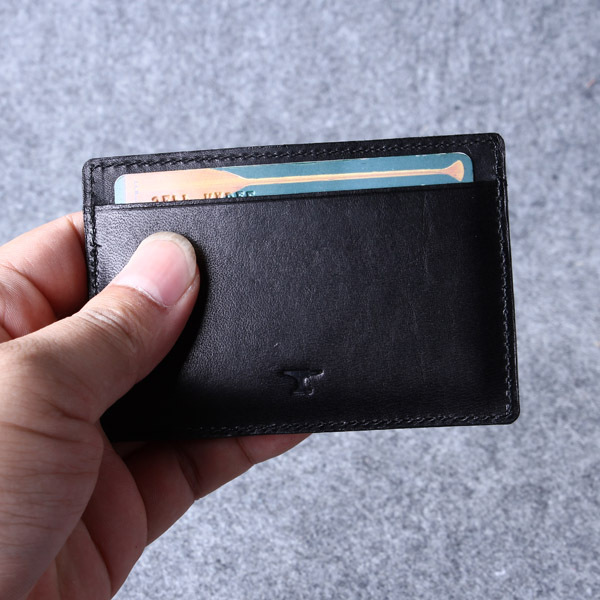 buy popular 5886e bd311 Black Leather Card Holder Men And Women Gift/genuine Leather Slim Business  Card Wallet/ Minimalist Double Leather Card Case - Buy Black Leather Card  ...