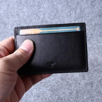 Black Leather Card Holder Men And Women Giftgenuine Leather Slim