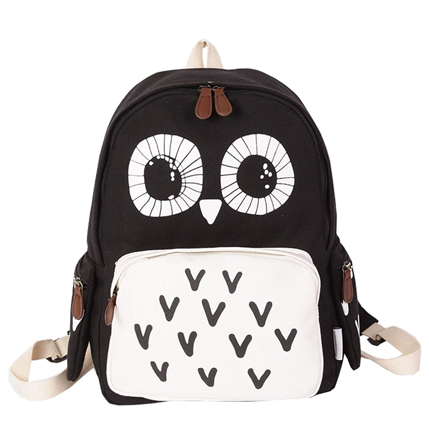 Get Quotations · D-Sun Cute Owl Canvas Backpack for Girls, Cute College Bookbag  School Daypack Shoulder c821117653