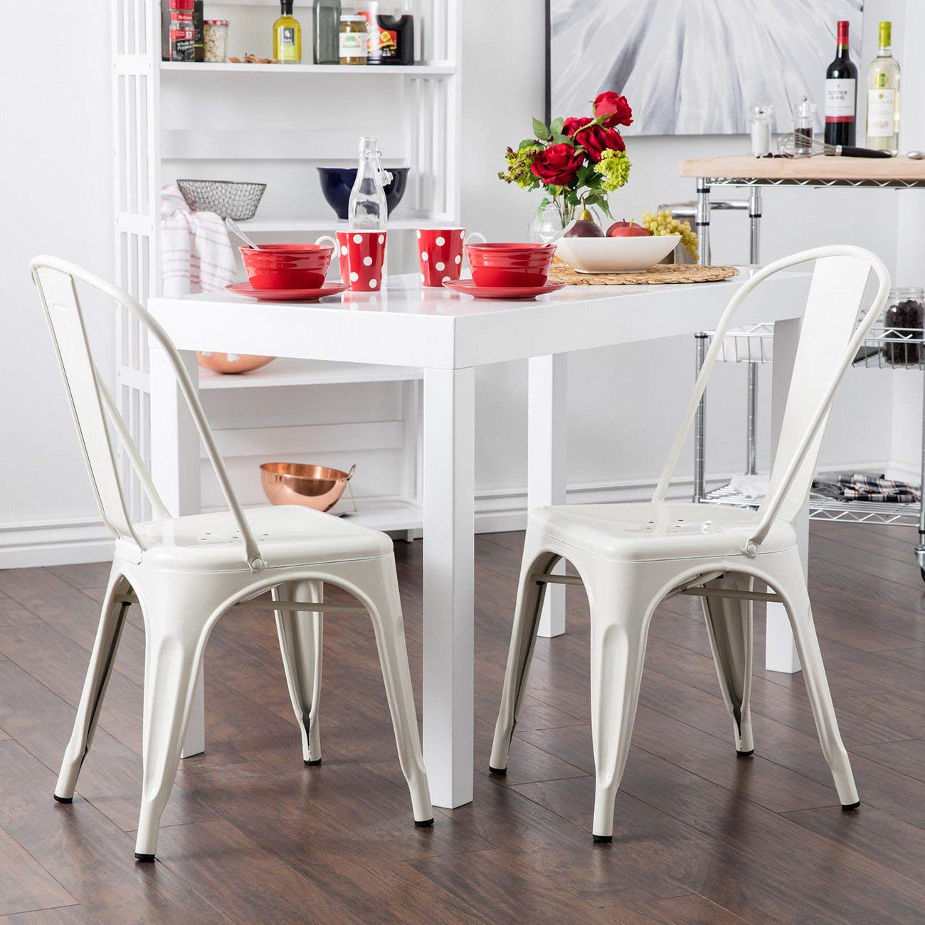 GHP 4-Pcs 330-Lbs Capacity White Steel Stackable Vintage Bistro Cafe Dining Chairs