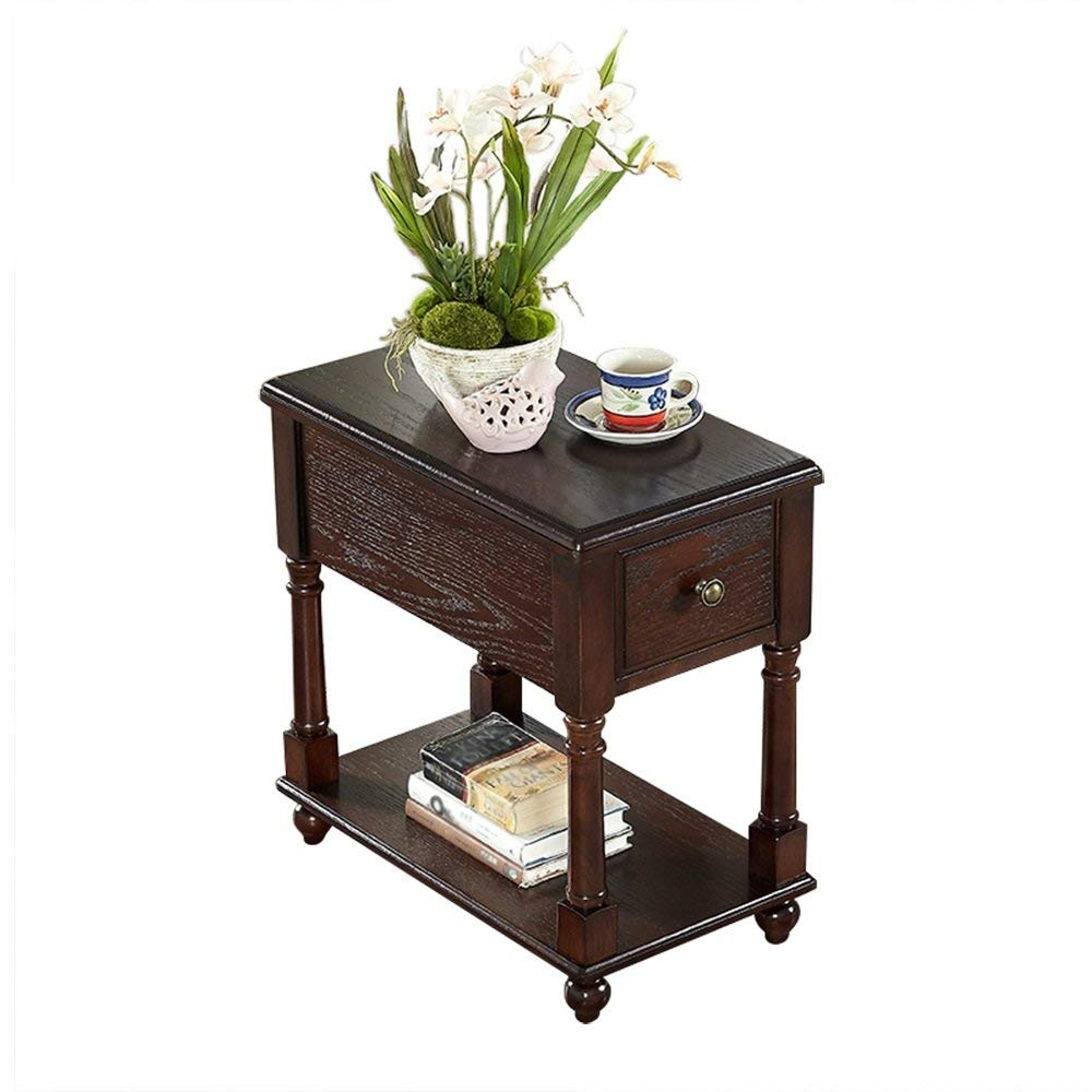 WS Nightstand Bedside Table Solid Wood Coffee Table Sofa Side Tables Coffee Tables Side Table Modern Bedroom Table Furniture(Assembled,Size:563359cm) (Size : Deep Walnut Color)