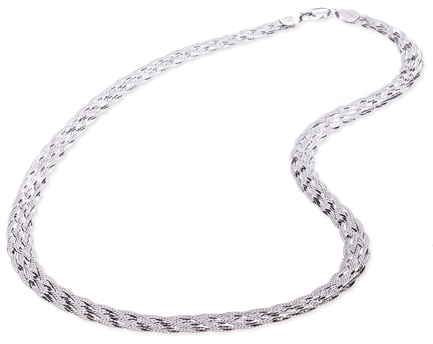 4a0aaab4f1e484 Get Quotations · SilverLuxe 925 Sterling Silver 6 Row Braided Herringbone  Chain Italian Made 18