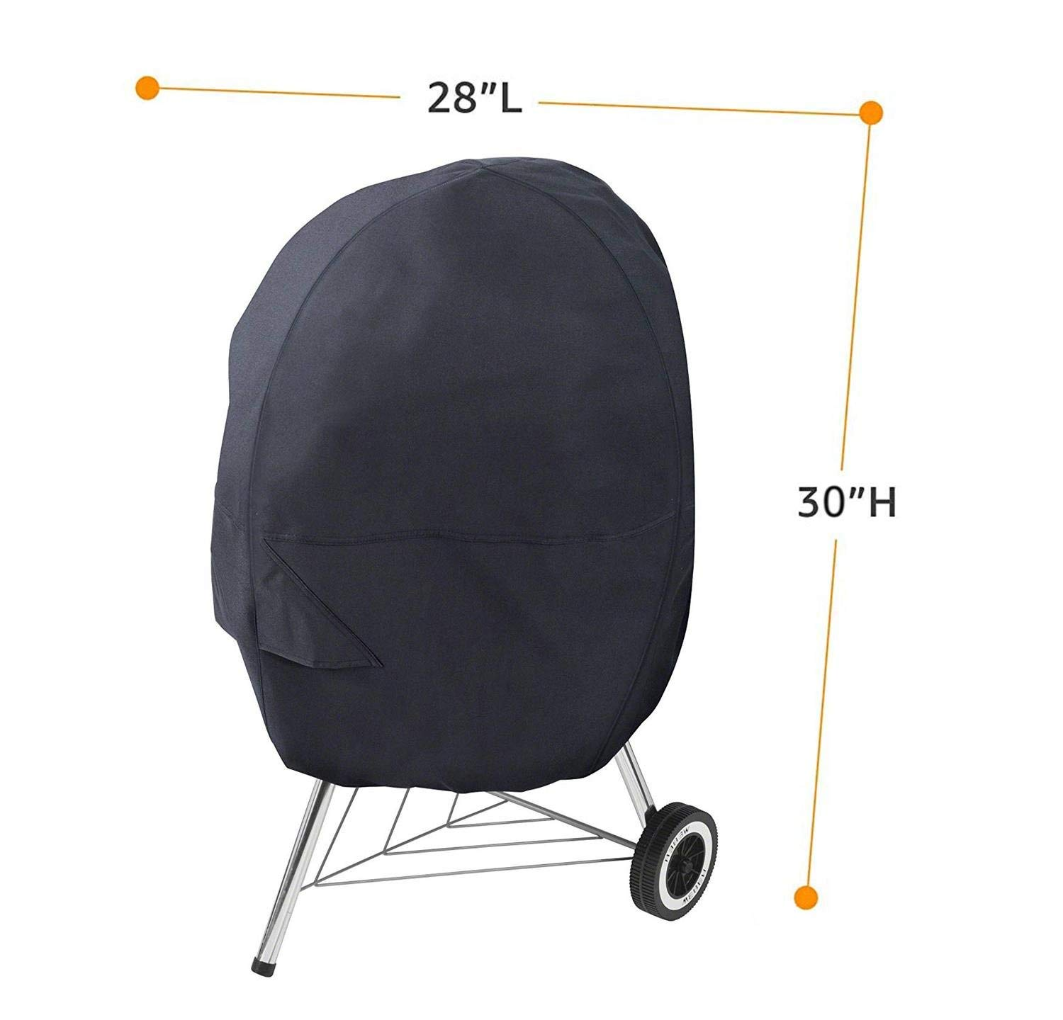 QueenA Upgraded BBQ Grill Cover, 30-Inch Waterproof Barbecue Grill Cover 210D Oxford Cloth Heavy Duty Gas Grill Covers Shade for Charcoal Grill(Black)