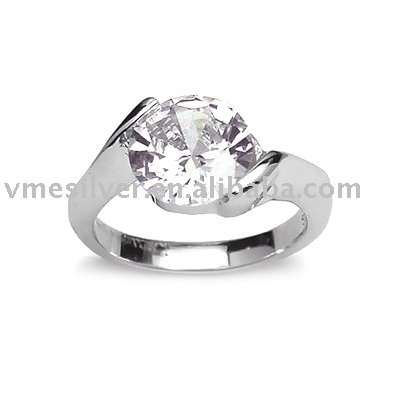 Sterling Silver Ring with Crystal (RCA-0932), Solitaire Ring
