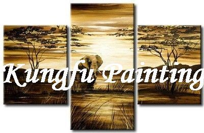 3-7022 100% Handmade unframed good quality home decoration 3 panels modern wall picture african elephant paintings