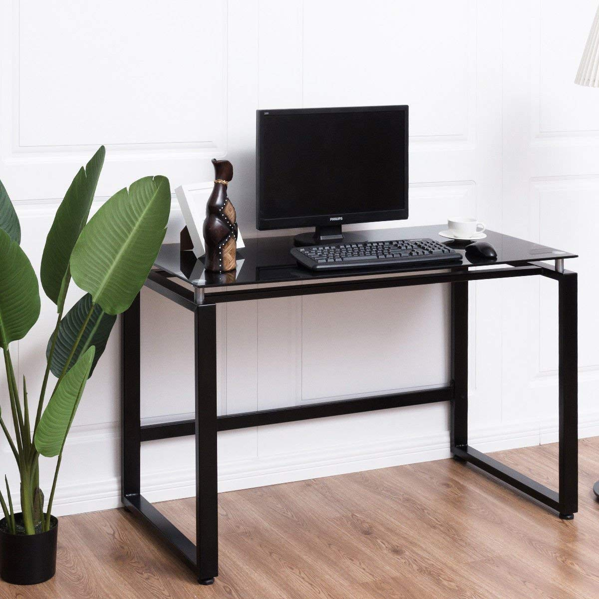 Buy Tangkula Computer Desk Home Office Workstation Glass Top