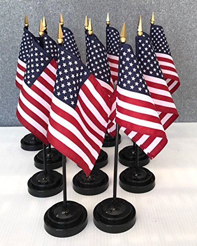 "MADE IN USA!! Box of 12 USA 4""x6"" Miniature Desk & Table Flags Includes 12 Flag Stands & 12 American Small Mini Flags"