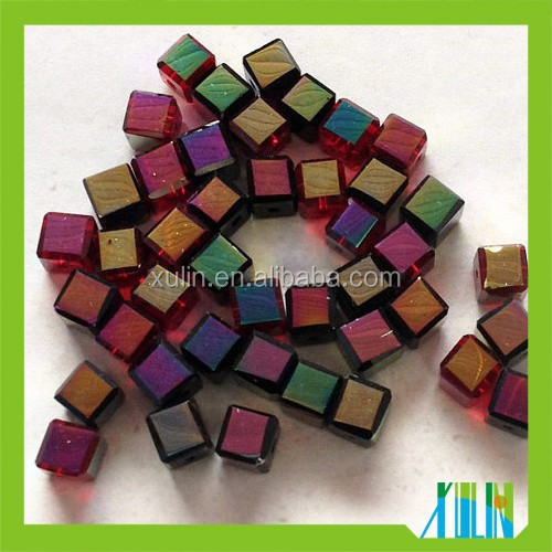 6mm Faceted siam AB clear glass crystal cube loose beads in bulk