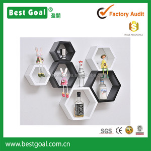 2 set of wooden hexagon wall shelf in White&Black DIY wooden wall art